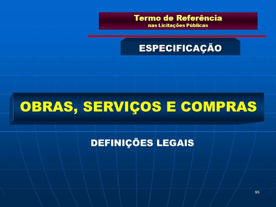 95 ESPECIFICAÇÃO OBRAS, SERVIÇOS E COMPRAS DEFINIÇÕES LEGAIS Termo de Referência nas Licitações Públicas