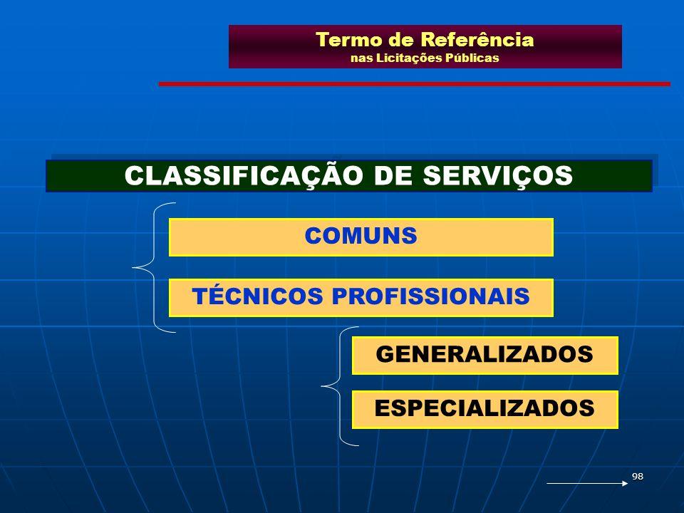 98 COMUNS TÉCNICOS PROFISSIONAIS GENERALIZADOS ESPECIALIZADOS CLASSIFICAÇÃO DE SERVIÇOS Termo de Referência nas Licitações Públicas