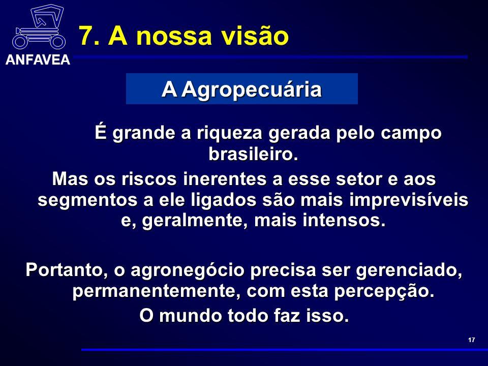 ANFAVEA 17 7. A nossa visão É grande a riqueza gerada pelo campo brasileiro.