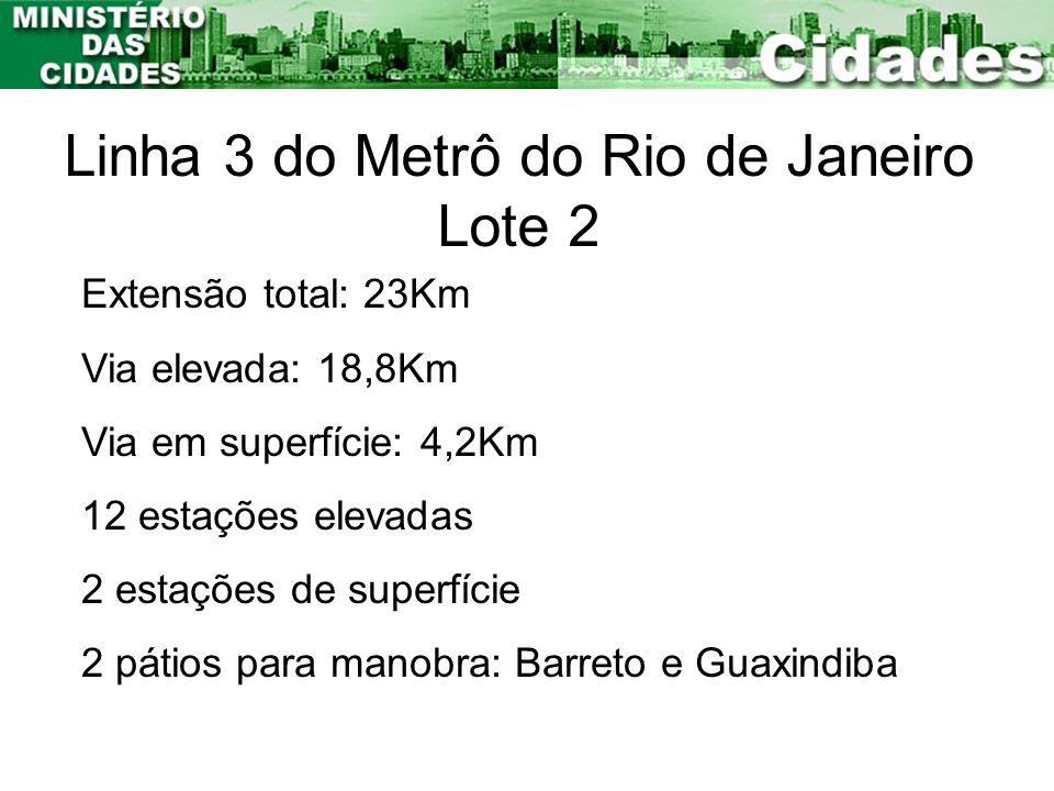 Linha 3 do Metrô do Rio de Janeiro Lote 2 Extensão total: 23Km Via elevada: 18,8Km Via em superfície: 4,2Km 12 estações elevadas 2 estações de superfí