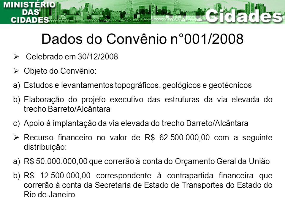 Dados do Convênio n°001/2008 Celebrado em 30/12/2008 Objeto do Convênio: a)Estudos e levantamentos topográficos, geológicos e geotécnicos b)Elaboração