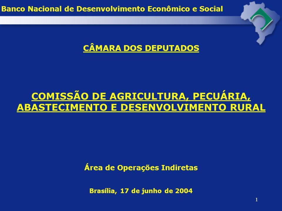 12 DESEMBOLSO E Nº DE OPERAÇÕES NO MODERFROTA E NA LINHA ESPECIAL AGRÍCOLA 2000 – 2004 (*) Banco Nacional de Desenvolvimento Econômico e Social