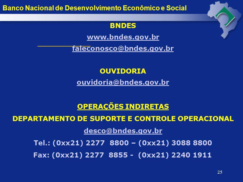 25 Banco Nacional de Desenvolvimento Econômico e Social BNDES www.bndes.gov.br faleconosco@bndes.gov.br OUVIDORIA ouvidoria@bndes.gov.br@bndes.gov.br