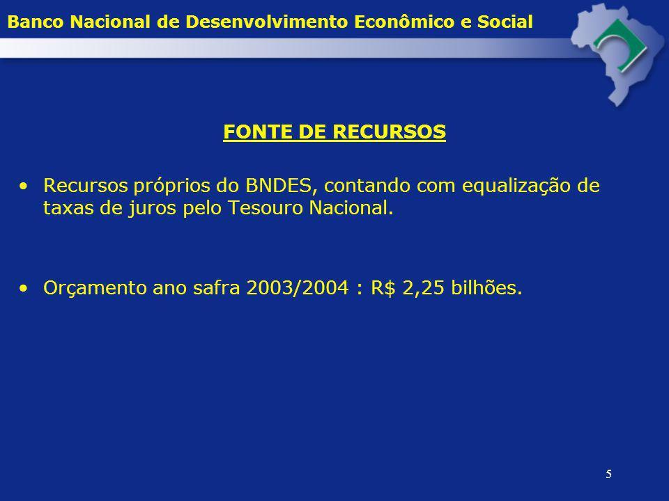5 FONTE DE RECURSOS Recursos próprios do BNDES, contando com equalização de taxas de juros pelo Tesouro Nacional. Orçamento ano safra 2003/2004 : R$ 2