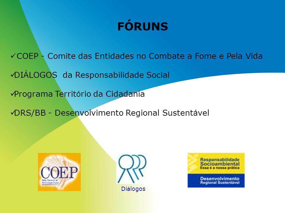 FÓRUNS COEP - Comite das Entidades no Combate a Fome e Pela Vida DI Á LOGOS da Responsabilidade Social Programa Territ ó rio da Cidadania DRS/BB - Des