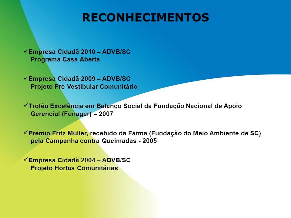 RECONHECIMENTOS Empresa Cidadã 2010 – ADVB/SC Programa Casa Aberta Empresa Cidadã 2009 – ADVB/SC Projeto Pré Vestibular Comunitário Troféu Excelência