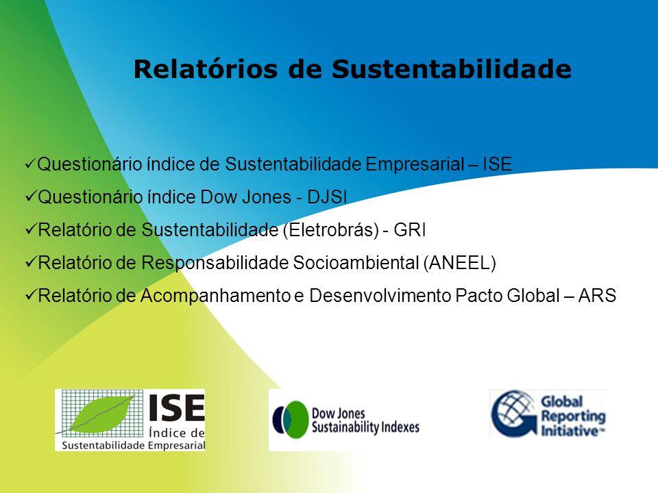 Relatórios de Sustentabilidade Questionário índice de Sustentabilidade Empresarial – ISE Questionário índice Dow Jones - DJSI Relatório de Sustentabil