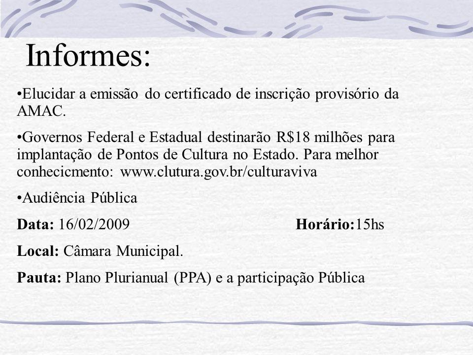 Informes: Elucidar a emissão do certificado de inscrição provisório da AMAC. Governos Federal e Estadual destinarão R$18 milhões para implantação de P