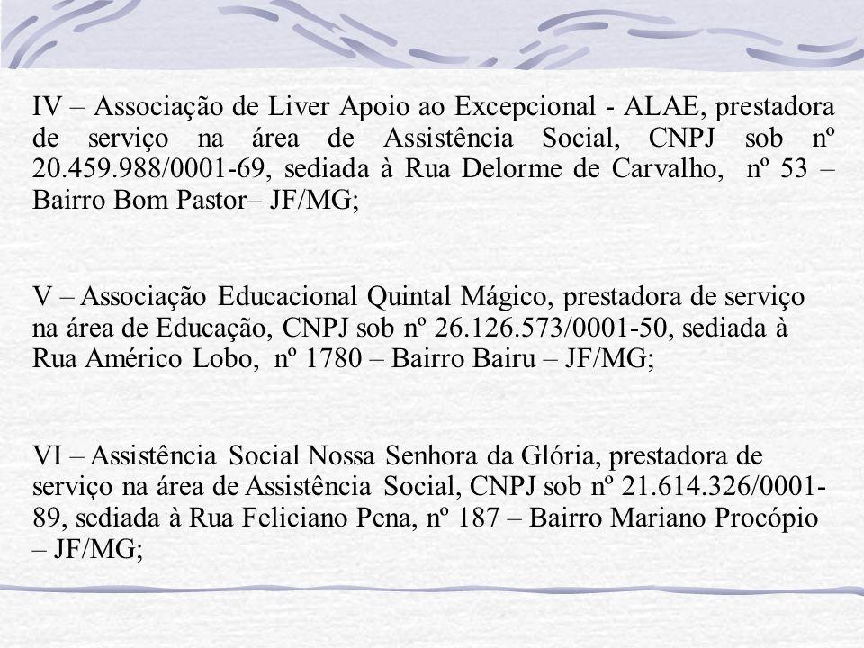 IV – Associação de Liver Apoio ao Excepcional - ALAE, prestadora de serviço na área de Assistência Social, CNPJ sob nº 20.459.988/0001-69, sediada à R