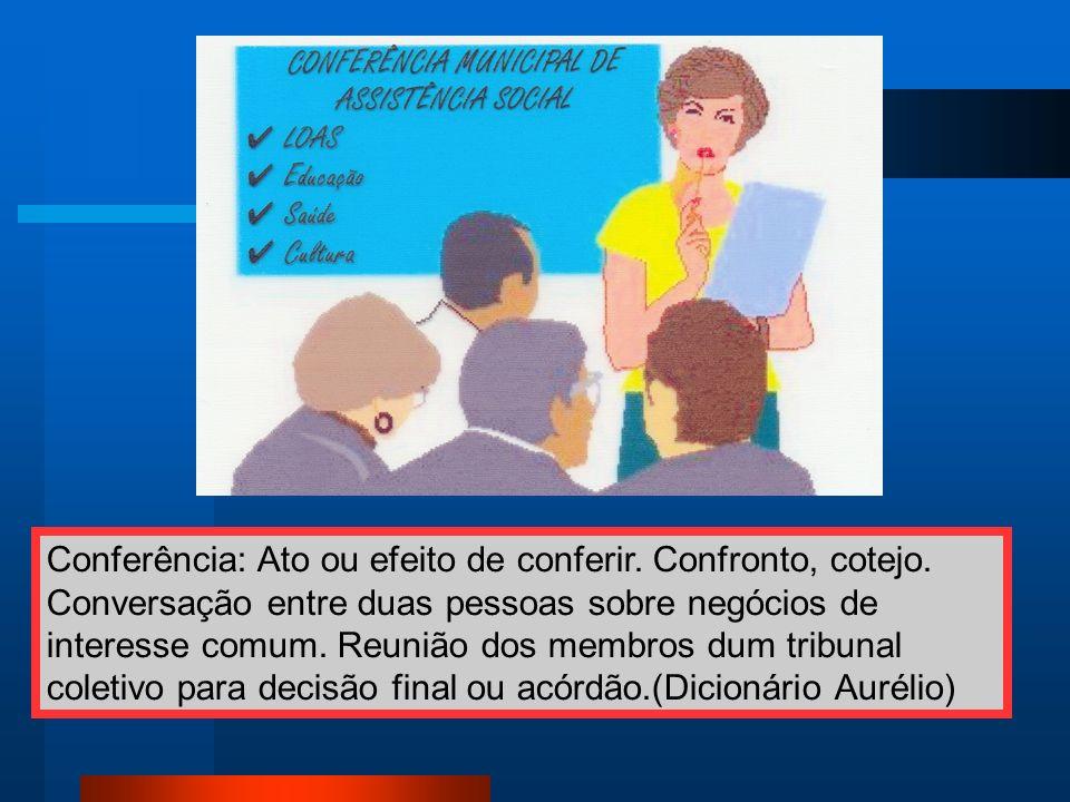 Conferência: Ato ou efeito de conferir. Confronto, cotejo. Conversação entre duas pessoas sobre negócios de interesse comum. Reunião dos membros dum t