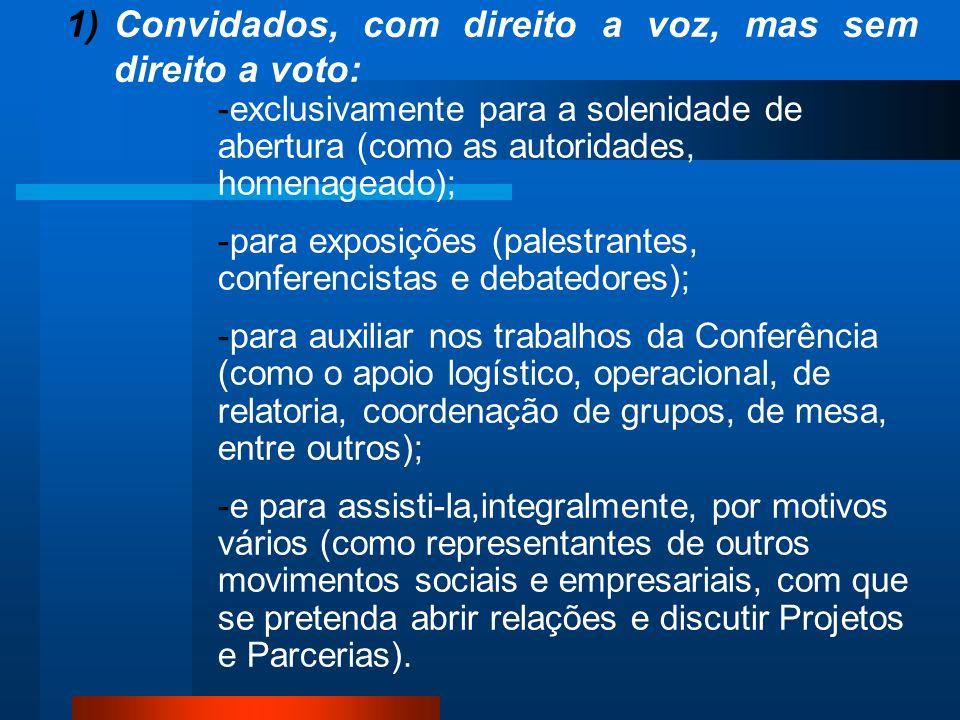 1)Convidados, com direito a voz, mas sem direito a voto: -exclusivamente para a solenidade de abertura (como as autoridades, homenageado); -para expos