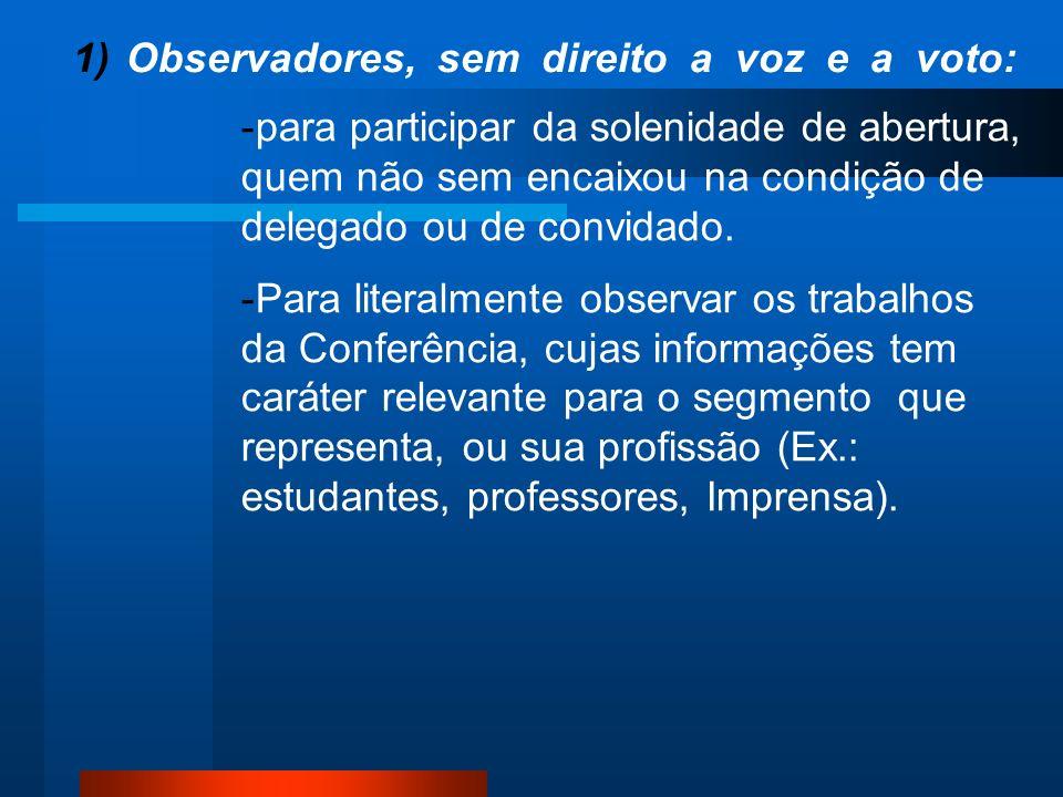1)Observadores, sem direito a voz e a voto: -para participar da solenidade de abertura, quem não sem encaixou na condição de delegado ou de convidado.
