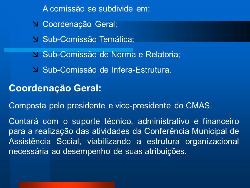 A comissão se subdivide em: Coordenação Geral; Sub-Comissão Temática; Sub-Comissão de Norma e Relatoria; Sub-Comissão de Infera-Estrutura. Coordenação