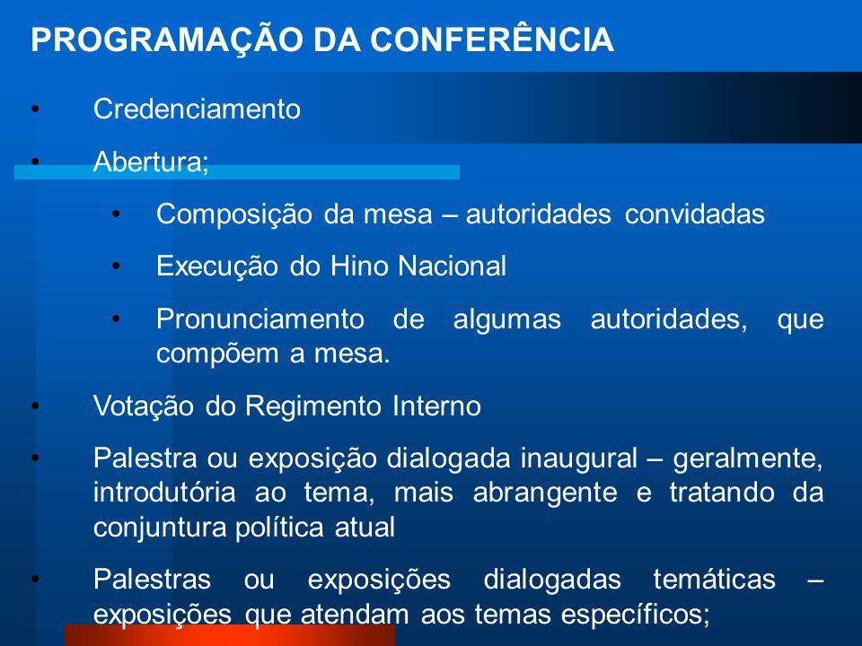 PROGRAMAÇÃO DA CONFERÊNCIA Credenciamento Abertura; Composição da mesa – autoridades convidadas Execução do Hino Nacional Pronunciamento de algumas autoridades, que compõem a mesa.