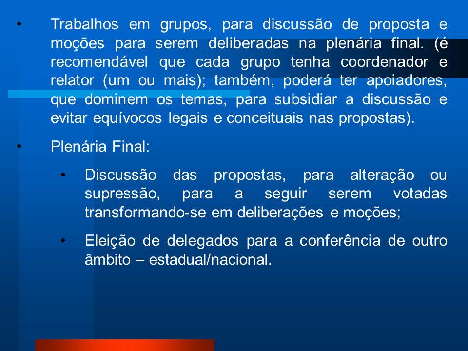 Trabalhos em grupos, para discussão de proposta e moções para serem deliberadas na plenária final. (é recomendável que cada grupo tenha coordenador e