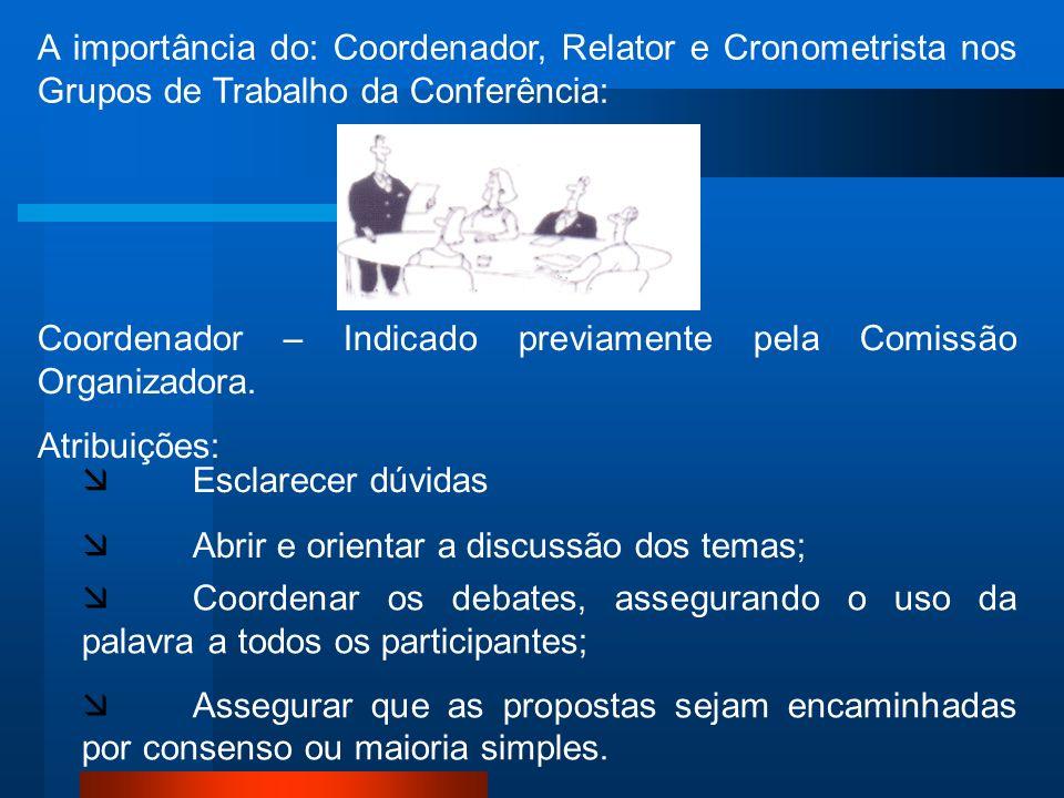 A importância do: Coordenador, Relator e Cronometrista nos Grupos de Trabalho da Conferência: Coordenador – Indicado previamente pela Comissão Organiz