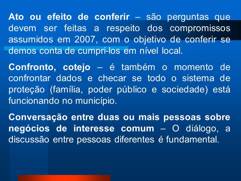 Ato ou efeito de conferir – são perguntas que devem ser feitas a respeito dos compromissos assumidos em 2007, com o objetivo de conferir se demos conta de cumpri-los em nível local.