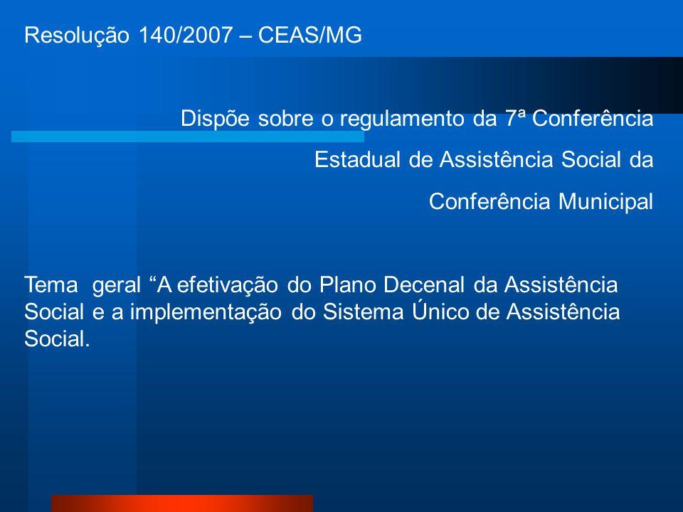 Resolução 140/2007 – CEAS/MG Dispõe sobre o regulamento da 7ª Conferência Estadual de Assistência Social da Conferência Municipal Tema geral A efetivação do Plano Decenal da Assistência Social e a implementação do Sistema Único de Assistência Social.