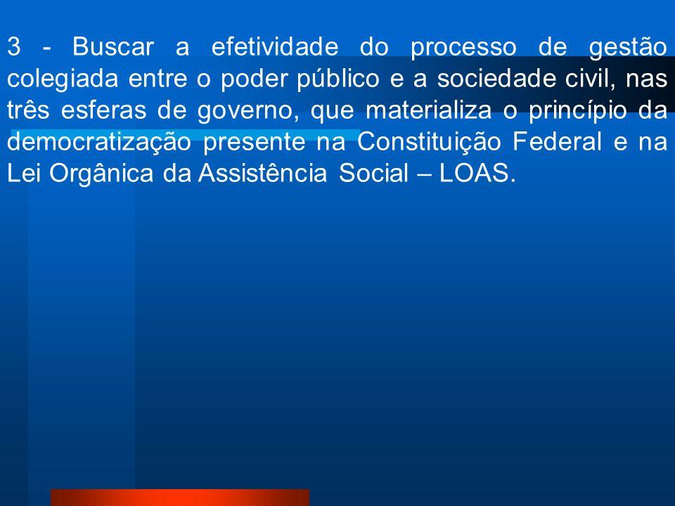 3 - Buscar a efetividade do processo de gestão colegiada entre o poder público e a sociedade civil, nas três esferas de governo, que materializa o pri