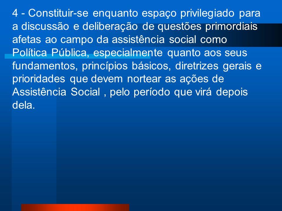 4 - Constituir-se enquanto espaço privilegiado para a discussão e deliberação de questões primordiais afetas ao campo da assistência social como Polít