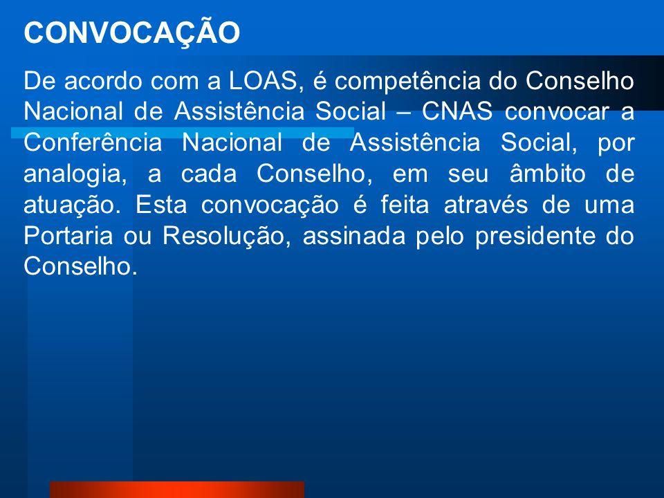 CONVOCAÇÃO De acordo com a LOAS, é competência do Conselho Nacional de Assistência Social – CNAS convocar a Conferência Nacional de Assistência Social