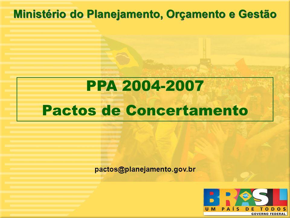 1 pactos@planejamento.gov.br Ministério do Planejamento, Orçamento e Gestão PPA 2004-2007 Pactos de Concertamento