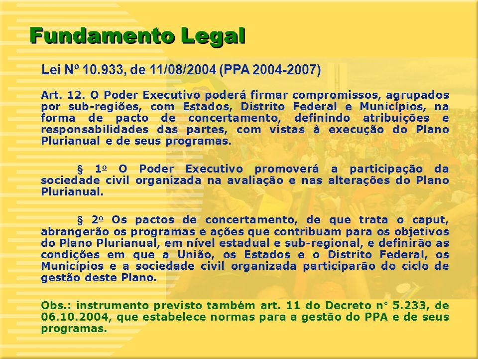 3 Objetivo Implementar programas e ações selecionados em comum acordo com os três entes da federação, considerando a demanda da sociedade e visando apoiar um projeto de desenvolvimento sustentável em nível sub-regional, articulado à estratégia nacional de desenvolvimento que orientou a formulação do PPA 2004-2007 do Governo Federal.