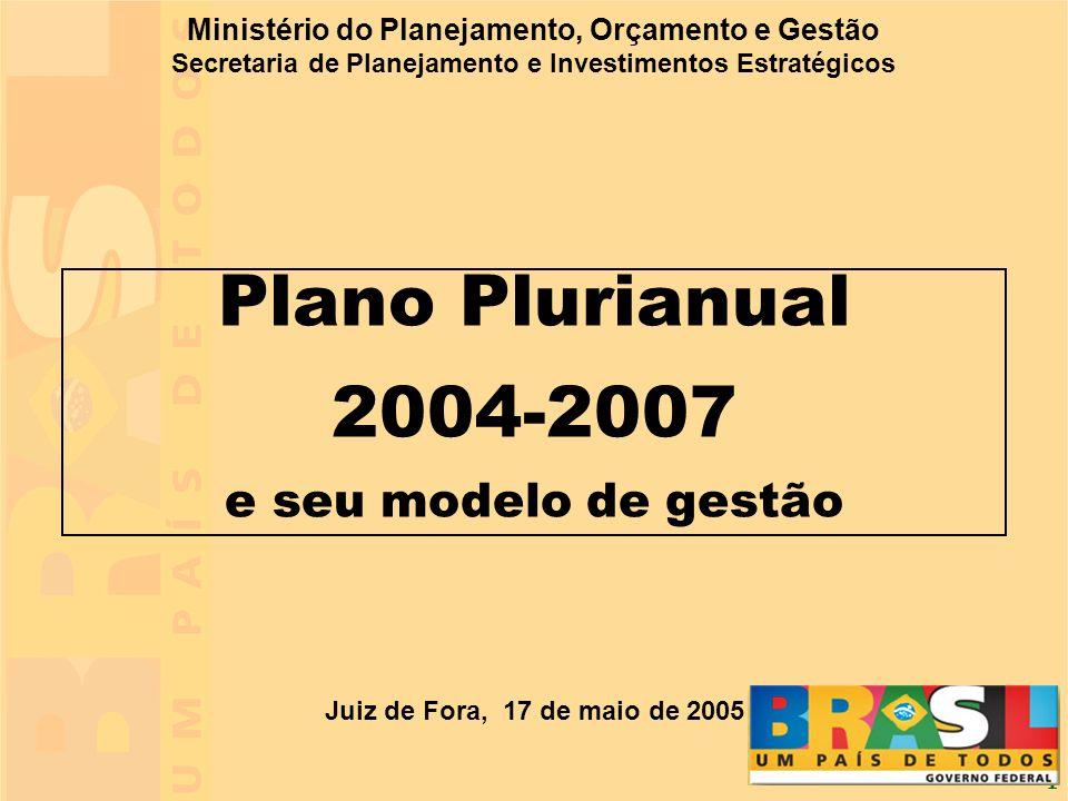 1 Ministério do Planejamento, Orçamento e Gestão Secretaria de Planejamento e Investimentos Estratégicos Juiz de Fora, 17 de maio de 2005 Plano Pluria