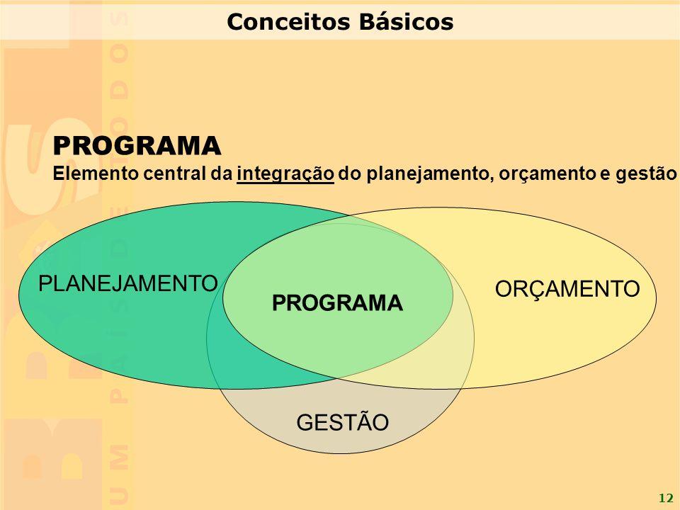 12 PROGRAMA Elemento central da integração do planejamento, orçamento e gestão PLANEJAMENTO ORÇAMENTO PROGRAMA GESTÃO Conceitos Básicos