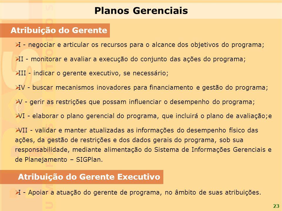 23 Atribuição do Gerente I - negociar e articular os recursos para o alcance dos objetivos do programa; II - monitorar e avaliar a execução do conjunt