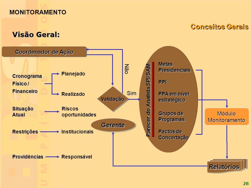 28 GerenteGerente Cronograma Físico / Financeiro Situação Atual Restrições Providências Planejado Realizado PPI Grupos de Programas MetasPresidenciais