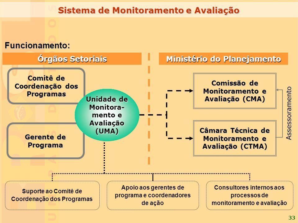 33 Comissão de Monitoramento e Avaliação (CMA) Câmara Técnica de Monitoramento e Avaliação (CTMA) Suporte ao Comitê de Coordenação dos Programas Apoio