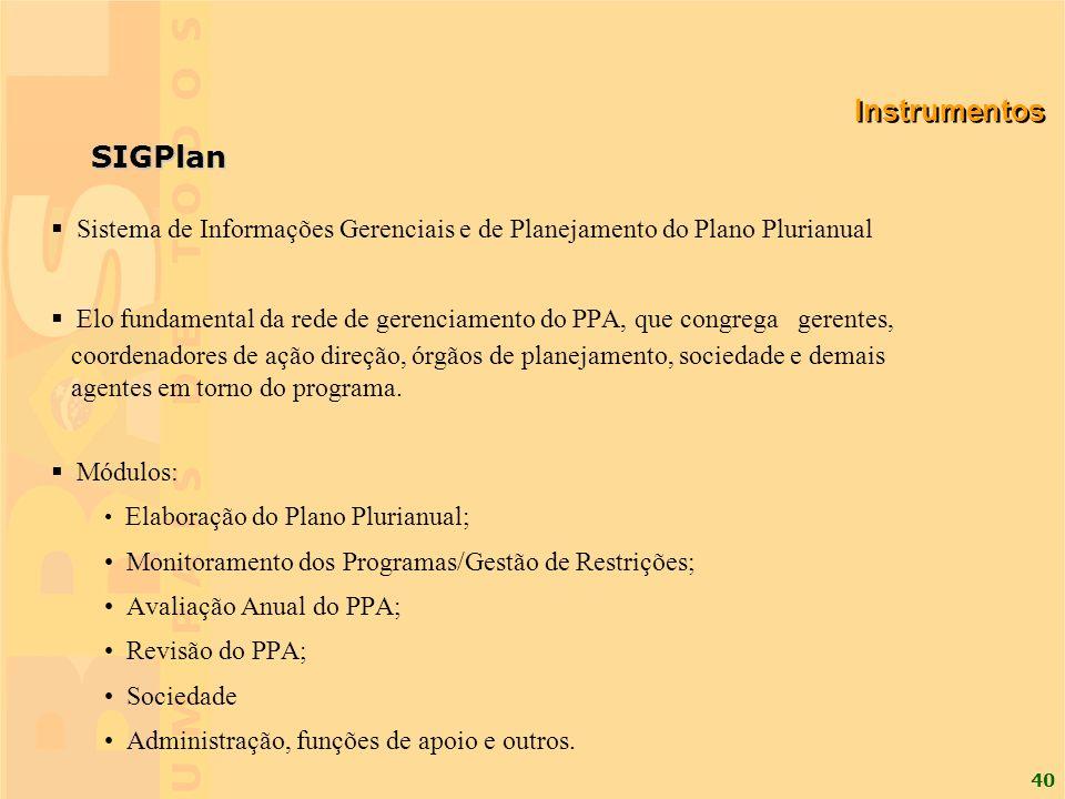 40 SIGPlan Sistema de Informações Gerenciais e de Planejamento do Plano Plurianual Elo fundamental da rede de gerenciamento do PPA, que congrega geren