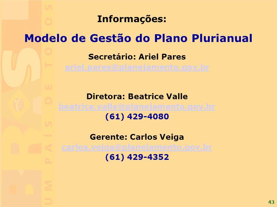 43 Informações: Modelo de Gestão do Plano Plurianual Secretário: Ariel Pares ariel.pares@planejamento.gov.br Diretora: Beatrice Valle beatrice.valle@p