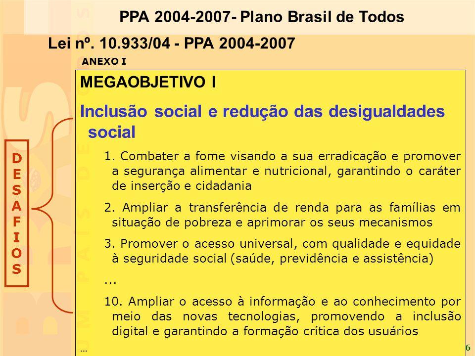 6 MEGAOBJETIVO I Inclusão social e redução das desigualdades social 1. Combater a fome visando a sua erradicação e promover a segurança alimentar e nu
