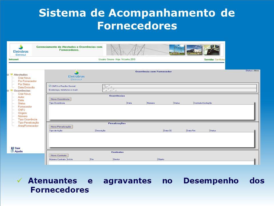 Sistema de Acompanhamento de Fornecedores Atenuantes e agravantes no Desempenho dos Fornecedores