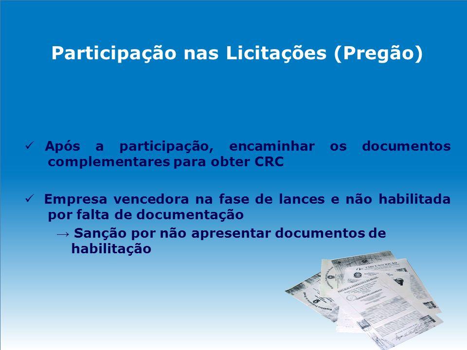 Participação nas Licitações (Pregão) Após a participação, encaminhar os documentos complementares para obter CRC Empresa vencedora na fase de lances e