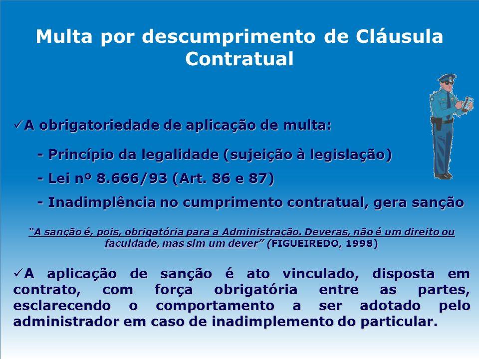 Multa por descumprimento de Cláusula Contratual A obrigatoriedade de aplicação de multa: A obrigatoriedade de aplicação de multa: - Princípio da legal