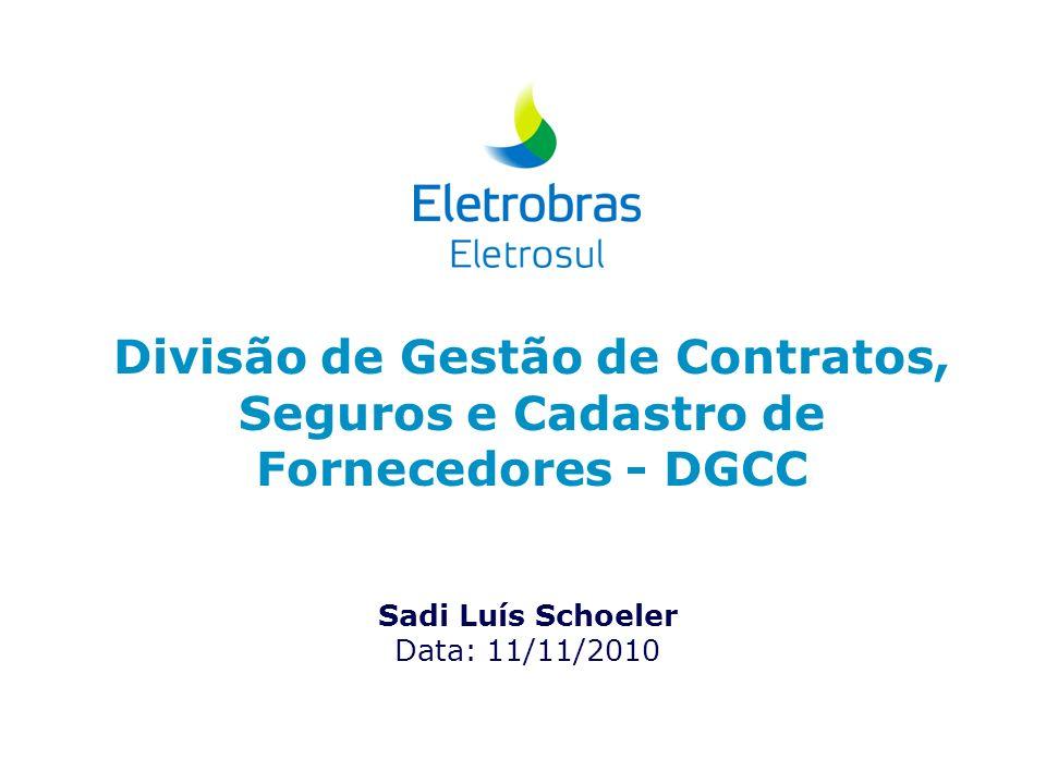 Divisão de Gestão de Contratos, Seguros e Cadastro de Fornecedores - DGCC Sadi Luís Schoeler Data: 11/11/2010