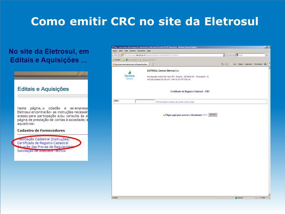 Como solicitar Atestado Técnico No site da Eletrosul, em Editais e Aquisições...