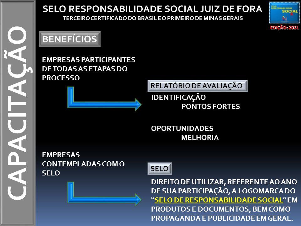 CAPACITAÇÃO EDIÇÃO: 2011 SELO RESPONSABILIDADE SOCIAL JUIZ DE FORA TERCEIRO CERTIFICADO DO BRASIL E O PRIMEIRO DE MINAS GERAIS BENEFÍCIOS EMPRESAS PARTICIPANTES DE TODAS AS ETAPAS DO PROCESSO RELATÓRIO DE AVALIAÇÃO IDENTIFICAÇÃO PONTOS FORTES OPORTUNIDADES MELHORIA EMPRESAS CONTEMPLADAS COM O SELO DIREITO DE UTILIZAR, REFERENTE AO ANO DE SUA PARTICIPAÇÃO, A LOGOMARCA DO SELO DE RESPONSABILIDADE SOCIAL EM PRODUTOS E DOCUMENTOS, BEM COMO PROPAGANDA E PUBLICIDADE EM GERAL.