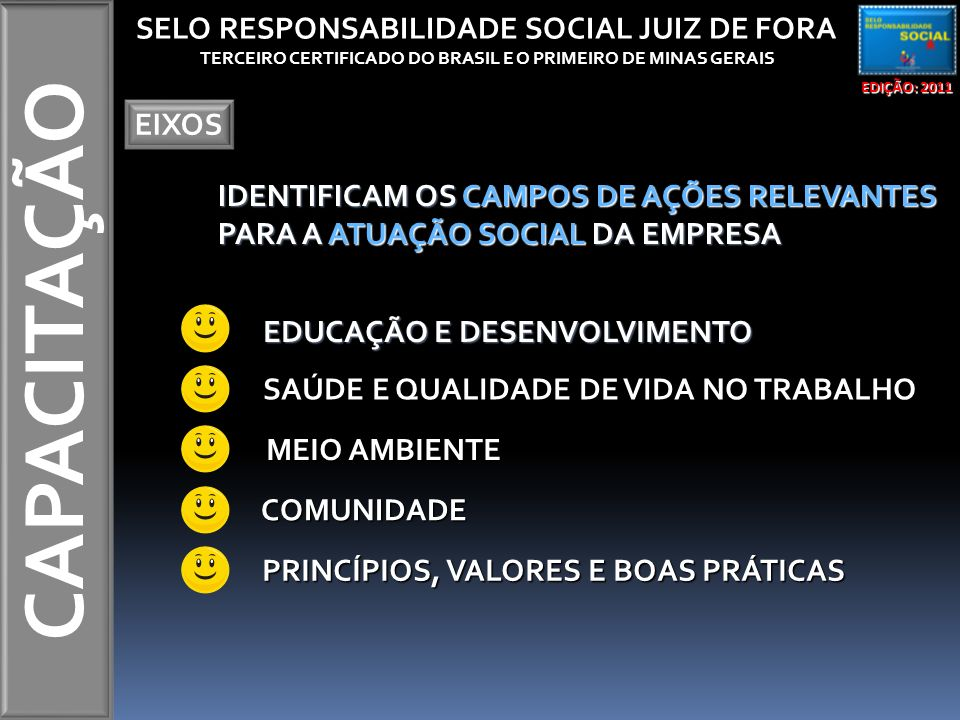 CAPACITAÇÃO EDIÇÃO: 2011 SELO RESPONSABILIDADE SOCIAL JUIZ DE FORA TERCEIRO CERTIFICADO DO BRASIL E O PRIMEIRO DE MINAS GERAIS EIXOS IDENTIFICAM OS CAMPOS DE AÇÕES RELEVANTES PARA A ATUAÇÃO SOCIAL DA EMPRESA EDUCAÇÃO E DESENVOLVIMENTO SAÚDE E QUALIDADE DE VIDA NO TRABALHO MEIO AMBIENTE MEIO AMBIENTE COMUNIDADE PRINCÍPIOS, VALORES E BOAS PRÁTICAS