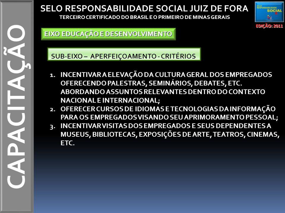 CAPACITAÇÃO EDIÇÃO: 2011 SELO RESPONSABILIDADE SOCIAL JUIZ DE FORA TERCEIRO CERTIFICADO DO BRASIL E O PRIMEIRO DE MINAS GERAIS EIXO EDUCAÇÃO E DESENVOLVIMENTO SUB-EIXO – APERFEIÇOAMENTO - CRITÉRIOS 1.INCENTIVAR A ELEVAÇÃO DA CULTURA GERAL DOS EMPREGADOS OFERECENDO PALESTRAS, SEMINÁRIOS, DEBATES, ETC.