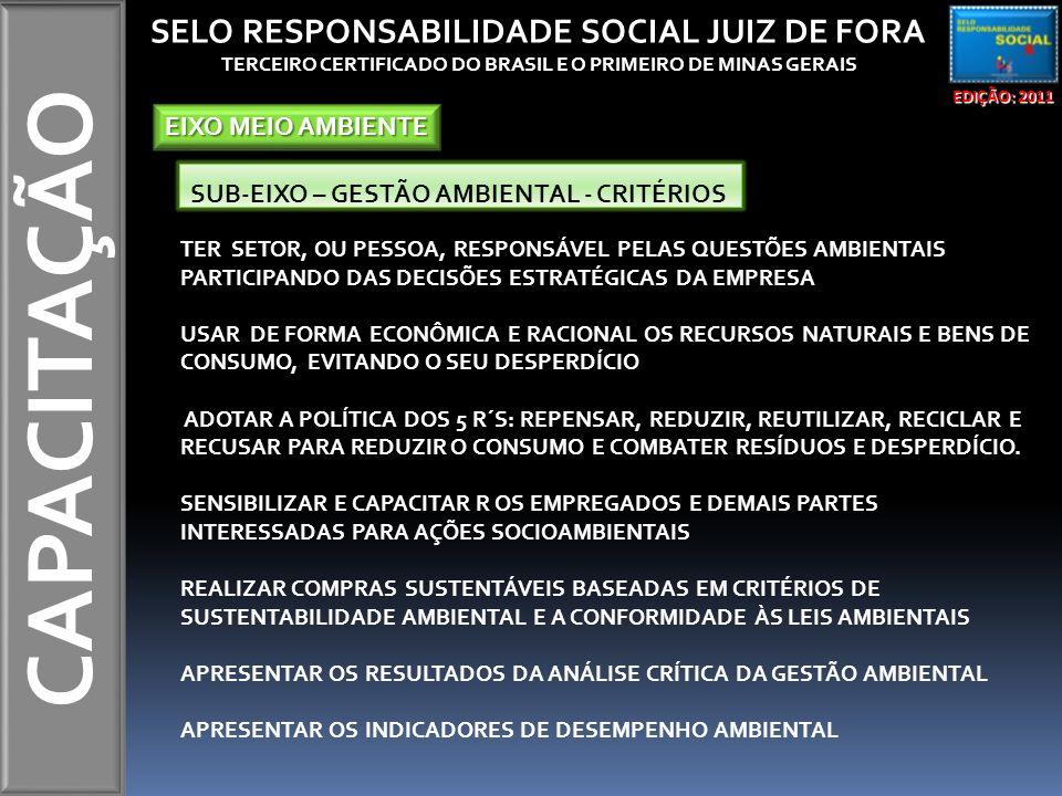 CAPACITAÇÃO TER SETOR, OU PESSOA, RESPONSÁVEL PELAS QUESTÕES AMBIENTAIS PARTICIPANDO DAS DECISÕES ESTRATÉGICAS DA EMPRESA USAR DE FORMA ECONÔMICA E RACIONAL OS RECURSOS NATURAIS E BENS DE CONSUMO, EVITANDO O SEU DESPERDÍCIO ADOTAR A POLÍTICA DOS 5 R´S: REPENSAR, REDUZIR, REUTILIZAR, RECICLAR E RECUSAR PARA REDUZIR O CONSUMO E COMBATER RESÍDUOS E DESPERDÍCIO.