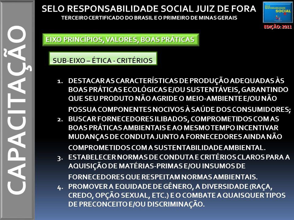 CAPACITAÇÃO EDIÇÃO: 2011 SELO RESPONSABILIDADE SOCIAL JUIZ DE FORA TERCEIRO CERTIFICADO DO BRASIL E O PRIMEIRO DE MINAS GERAIS EIXO PRINCÍPIOS, VALORE