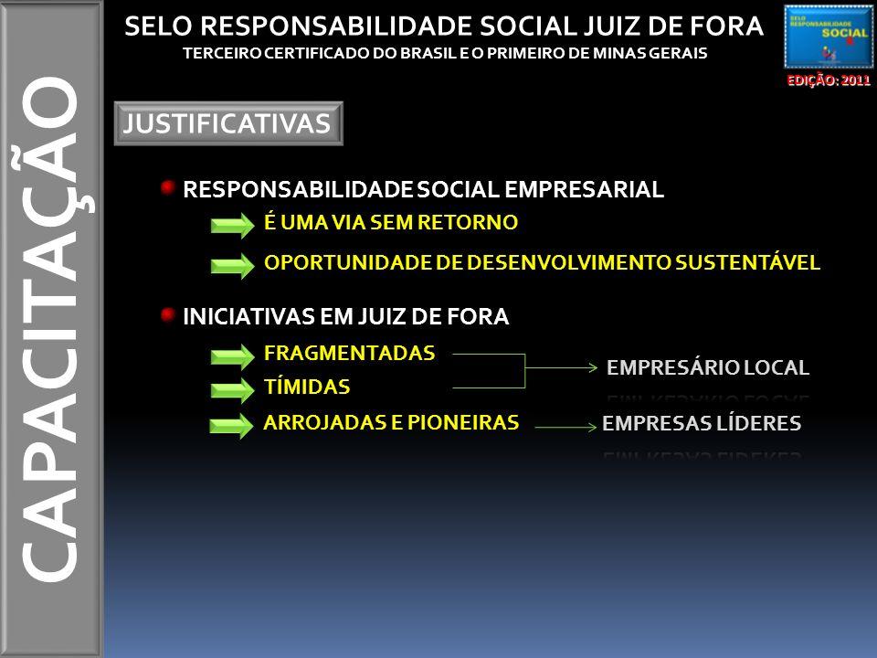 CAPACITAÇÃO EDIÇÃO: 2011 SELO RESPONSABILIDADE SOCIAL JUIZ DE FORA TERCEIRO CERTIFICADO DO BRASIL E O PRIMEIRO DE MINAS GERAIS MISSÃO RECONHECER E ESTIMULAR AS AÇÕES SOCIALMENTE RESPONSÁVEIS DESENVOLVIDAS PELAS EMPRESAS QUE ATUAM EM JUIZ DE FORA, ENVOLVENDO OS DIVERSOS SEGMENTOS (INDÚSTRIA, COMÉRCIO E PRESTADOR DE SERVIÇO).