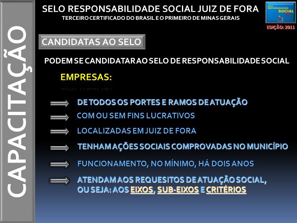 CAPACITAÇÃO EDIÇÃO: 2011 SELO RESPONSABILIDADE SOCIAL JUIZ DE FORA TERCEIRO CERTIFICADO DO BRASIL E O PRIMEIRO DE MINAS GERAIS CANDIDATAS AO SELO PODEM SE CANDIDATAR AO SELO DE RESPONSABILIDADE SOCIAL DE TODOS OS PORTES E RAMOS DE ATUAÇÃO LOCALIZADAS EM JUIZ DE FORA COM OU SEM FINS LUCRATIVOS FUNCIONAMENTO, NO MÍNIMO, HÁ DOIS ANOS TENHAM AÇÕES SOCIAIS COMPROVADAS NO MUNICÍPIO ATENDAM AOS REQUESITOS DE ATUAÇÃO SOCIAL, OU SEJA: AOS EIXOS, SUB-EIXOS E CRITÉRIOS