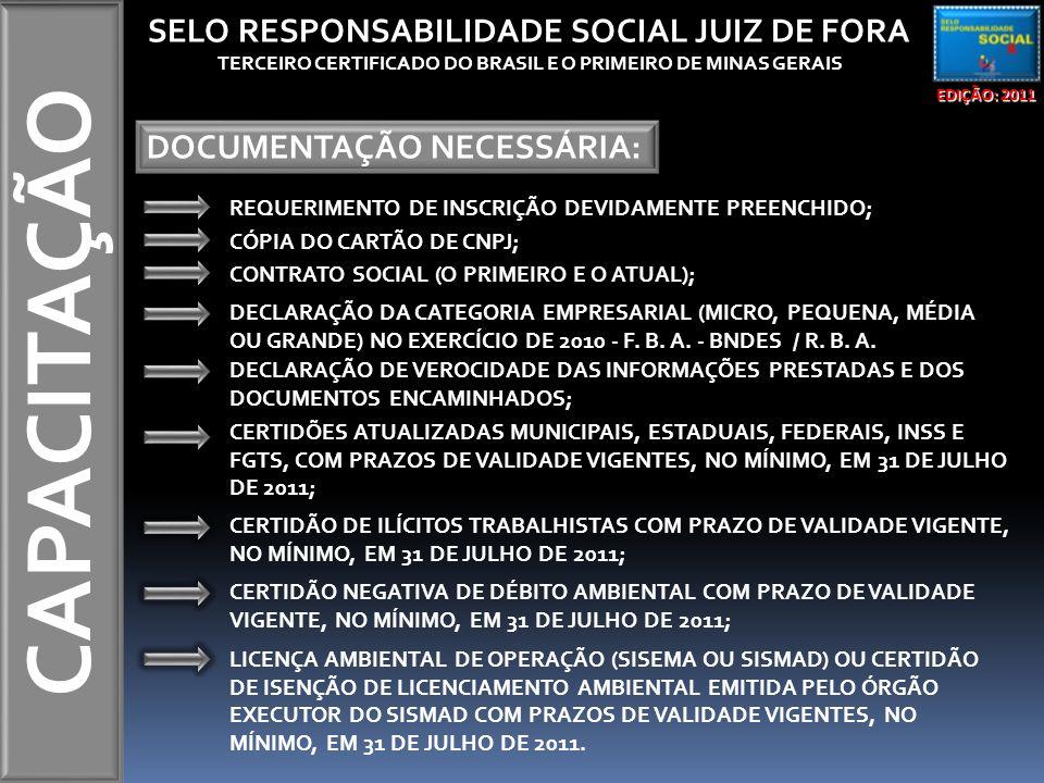 CAPACITAÇÃO EDIÇÃO: 2011 SELO RESPONSABILIDADE SOCIAL JUIZ DE FORA TERCEIRO CERTIFICADO DO BRASIL E O PRIMEIRO DE MINAS GERAIS DOCUMENTAÇÃO NECESSÁRIA