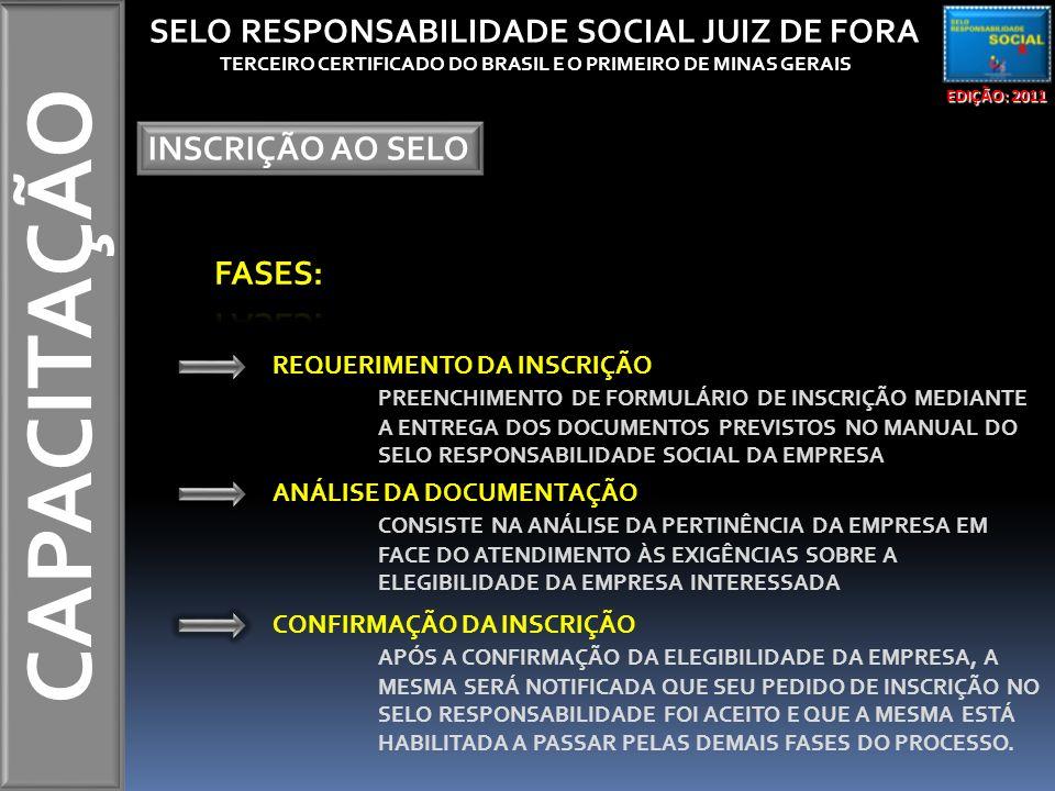 CAPACITAÇÃO EDIÇÃO: 2011 SELO RESPONSABILIDADE SOCIAL JUIZ DE FORA TERCEIRO CERTIFICADO DO BRASIL E O PRIMEIRO DE MINAS GERAIS INSCRIÇÃO AO SELO REQUERIMENTO DA INSCRIÇÃO PREENCHIMENTO DE FORMULÁRIO DE INSCRIÇÃO MEDIANTE A ENTREGA DOS DOCUMENTOS PREVISTOS NO MANUAL DO SELO RESPONSABILIDADE SOCIAL DA EMPRESA ANÁLISE DA DOCUMENTAÇÃO CONSISTE NA ANÁLISE DA PERTINÊNCIA DA EMPRESA EM FACE DO ATENDIMENTO ÀS EXIGÊNCIAS SOBRE A ELEGIBILIDADE DA EMPRESA INTERESSADA CONFIRMAÇÃO DA INSCRIÇÃO APÓS A CONFIRMAÇÃO DA ELEGIBILIDADE DA EMPRESA, A MESMA SERÁ NOTIFICADA QUE SEU PEDIDO DE INSCRIÇÃO NO SELO RESPONSABILIDADE FOI ACEITO E QUE A MESMA ESTÁ HABILITADA A PASSAR PELAS DEMAIS FASES DO PROCESSO.