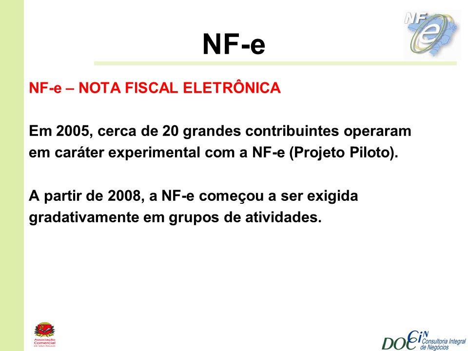 NF-e NF-e – NOTA FISCAL ELETRÔNICA Em 2005, cerca de 20 grandes contribuintes operaram em caráter experimental com a NF-e (Projeto Piloto). A partir d